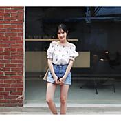 Mujer Simple Noche Casual/Diario Verano Camiseta,Escote Barco Floral Manga Corta Algodón