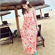Mujer Corte Ancho Vestido Noche Casual/Diario Floral Con Tirantes Sobre la rodilla Sin Mangas Algodón Verano Tiro Alto Microelástico Fino