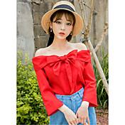 Mujer Vintage Simple Casual/Diario Camiseta,Escote Barco Un Color Manga 3/4 Algodón