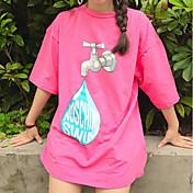 Mujer Simple Casual/Diario Verano Camiseta,Escote Redondo Un Color Estampado Manga Corta Algodón