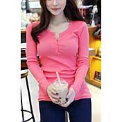 Mujer Simple Casual/Diario Camiseta,Escote en Pico Un Color Manga Larga Algodón Otro