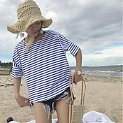 Mujer Bonito Casual/Diario Camiseta,Escote Redondo A Rayas Manga 3/4 Algodón