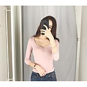 Mujer Sexy Noche Camiseta,Escote Redondo Un Color Manga Larga Algodón