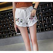 Mujer Sencillo Tiro Alto Inelástica Shorts Pantalones,Perneras anchas Un Color Bordado