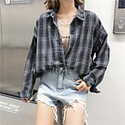 Mujer Simple Casual/Diario Camisa,Cuello Camisero Estampado Manga Larga Algodón
