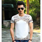 Hombre Simple Casual/Diario Camiseta,Escote Redondo Un Color Estampado Manga Corta Algodón