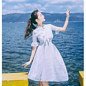 Mujer Vaina Vestido Casual/Diario Un Color Escote en Pico Hasta la Rodilla Manga Corta Poliéster Verano Tiro Alto Microelástico Fino