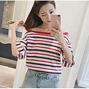 Mujer Simple Casual/Diario Camiseta,Escote Barco A Rayas Manga Corta Algodón Otro