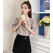 Mujer Simple Casual/Diario Camiseta,Escote Redondo Floral Media Manga Nailon