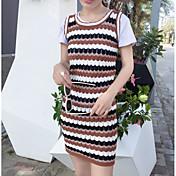 Mujer Vaina Vestido Casual/Diario Simple Sofisticado,Bloques Escote Redondo Sobre la rodilla Manga Corta Algodón Verano Tiro Alto