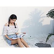 Mujer Simple Casual/Diario Blusa,Escote Barco Estampado Media Manga Poliéster