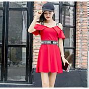 Mujer Vaina Vestido Noche Letra Hombros Caídos Sobre la rodilla Manga Corta Algodón Verano Tiro Medio Microelástico Fino
