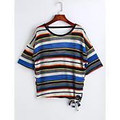 Mujer Simple Casual/Diario Camiseta,Escote Redondo Un Color A Rayas Cuadrícula Manga Corta Algodón