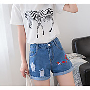 Mujer Sencillo Tiro Alto Microelástico Shorts Pantalones,Corte Recto Un Color