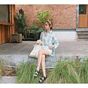 Mujer Simple Casual/Diario Camisa,Cuello Camisero Un Color A Rayas Manga Corta Algodón
