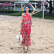 Mujer Simple Casual/Diario Verano T-Shirt Pantalón Trajes,Cuello Barco Floral Sin Mangas