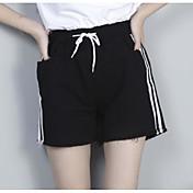 Mujer Sencillo Tiro Alto Microelástico Shorts Pantalones,Corte Recto A Rayas