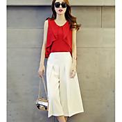 Mujer Simple Trabajo Verano T-Shirt Pantalón Trajes,Escote Redondo Un Color Sin Mangas