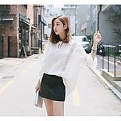Mujer Simple Casual/Diario Camisa,Escote Cuadrado Un Color Manga Larga Algodón