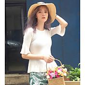 Mujer Regular Pullover Casual/Diario Un Color Escote Redondo Manga Corta Poliéster Primavera Verano Fino Microelástico