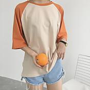 Mujer Simple Casual/Diario Camiseta,Escote Redondo Bloques Letra Manga Corta Algodón