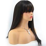 ブラジル人バージンヒトの毛のかつら前に絹のようなストレートレースのフロントのかつらはバークの女性のための前髪を持つ