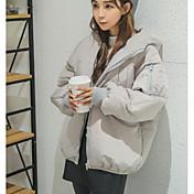 Abrigo Regular Largo Mujer Simple Casual/Diario,Un Color Algodón Polipropileno Manga Larga,
