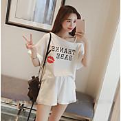 レディース カジュアル/普段着 夏 Tシャツ(21) パンツ スーツ,シンプル ワンショルダー メッセージ 半袖