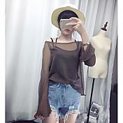 Mujer Simple Casual/Diario Camiseta,Escote Barco Un Color Manga Larga Nailon