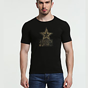 Hombre Vintage Simple Activo Deportes Noche Casual/Diario Verano Otoño Camiseta,Escote Redondo Geométrico Letra Manga Corta Algodón Licra
