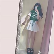 Mujer Bonito Noche Verano T-Shirt Falda Trajes,Escote Redondo Un Color Manga Corta Espalda al Aire Inelástica