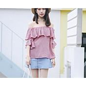 Mujer Simple Casual/Diario Camisa,Hombros Caídos A Rayas Media Manga Algodón