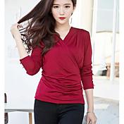 Mujer Simple Casual/Diario Camiseta,Escote en Pico Un Color Manga Larga Otro