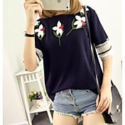 レディース カジュアル/普段着 Tシャツ,シンプル ラウンドネック ソリッド フラワー コットン 半袖
