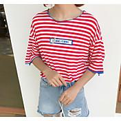 Mujer Simple Noche Camiseta,Escote Redondo Un Color A Rayas Manga Corta Algodón