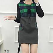 Mujer Línea A Vestido Noche Casual/Diario Sexy Bonito,Un Color A Rayas Escote Redondo Sobre la rodilla Manga Larga Algodón Acrílico