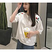 Mujer Simple Casual/Diario Camiseta,Escote Redondo Un Color Estampado Media Manga Algodón