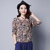 Mujer Tejido Oriental Casual/Diario Camiseta,Escote Redondo Floral Manga Larga Algodón Lino