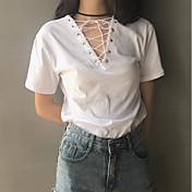 Mujer Sexy Noche Camiseta,Escote en Pico Un Color Manga Corta Otro