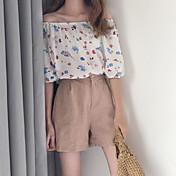 Mujer Vintage Bonito Casual/Diario Camiseta,Escote Barco Floral Estampado Media Manga Algodón