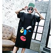 Mujer Corte Ancho Vestido Casual/Diario Estampado Escote Redondo Midi Manga Corta Poliéster Verano Tiro Medio Microelástico Fino