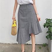 Mujer Casual/Diario Sobre la Rodilla Faldas,Línea A Verano Bloque de Color Cuadrícula