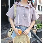 Mujer Simple Casual/Diario Camisa,Con Capucha Estampado Media Manga Algodón