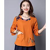 レディース カジュアル/普段着 Tシャツ,アジアン・エスニック ラウンドネック 刺繍 コットン 長袖