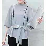 Mujer Simple Casual/Diario Camisa,Escote Redondo A Rayas Estampado Manga 3/4 Otro