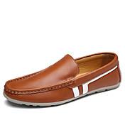 Hombre Zapatos Cuero Primavera Otoño Confort Zapatos de taco bajo y Slip-On Combinación Para Casual Negro Marrón Azul