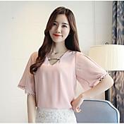 Mujer Simple Casual/Diario Camiseta,Escote en Pico Un Color Media Manga Nailon