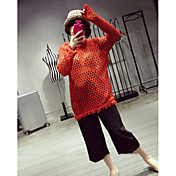 Mujer Largo Pullover Casual/Diario Un Color Escote Redondo Manga Larga Acrílico Primavera Extra Transparente Microelástico
