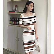 Mujer Vaina Vestido Noche Casual/Diario A Rayas Hombros Caídos Hasta la Rodilla Manga Corta Algodón Verano Otoño Tiro Medio Microelástico