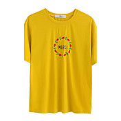 Mujer Simple Casual/Diario Camiseta,Escote Redondo Bordado Manga Corta Algodón